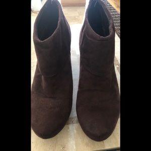 """Madeline booties. Suede 3 1/2"""" heel. Size 8 1/2M"""